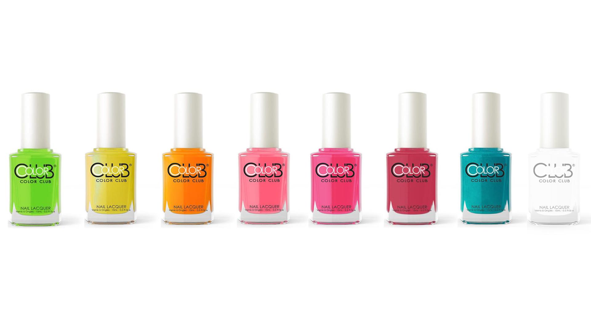 COLOR CLUB nail lacquer Nagellack Polish 8 Farben pink rot gelb grün blau orange rosa